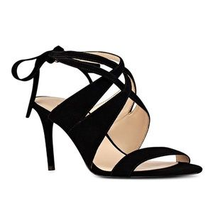 Nine West Strappy Black Leather Heel Sandals 7